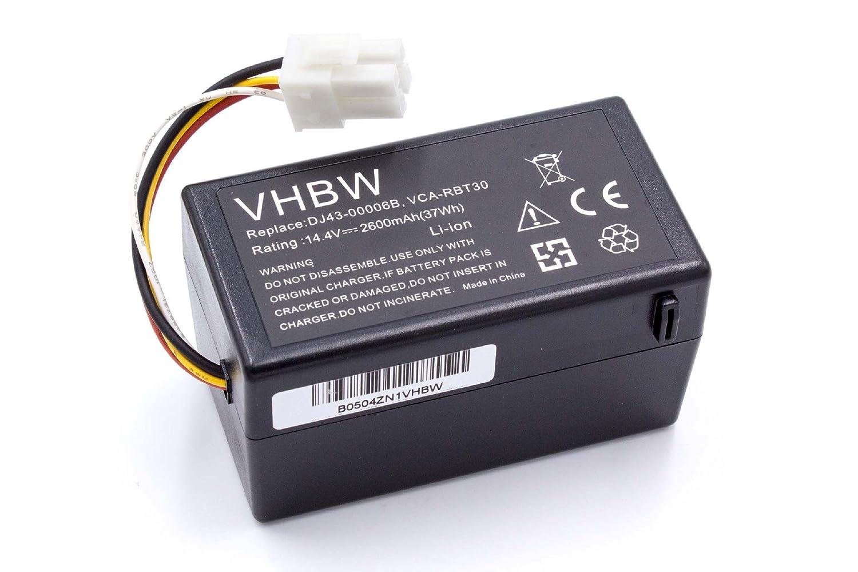 vhbw Batería Li-Ion 2600mAh (14.4V) para robot aspidador doméstico Samsung Navibot SR8940, SR8950, SR8980, SR8981, VCR8940 como DJ43-00006B, ...