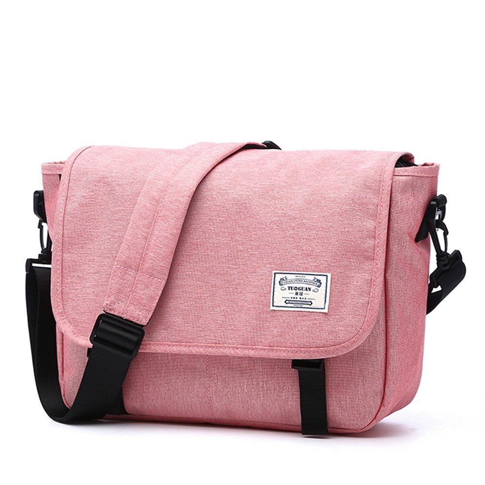 LYCSIX66 Classic Laptop Messenger Bag, Water Resistant Canvas School Satchel Shoulder Bags Fits MacBook Pro 13/13.3 Inch Notebook Computer, pink