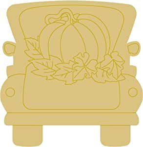 "Fall Truck Design by Lines Cutout Unfinished Wood Fall Decor Truck Door Hanger MDF Shape Canvas Style 1 (12"")"