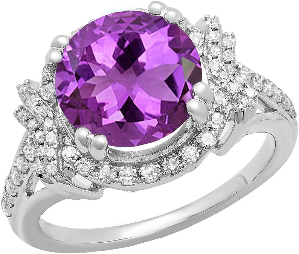 Anillo de compromiso de oro blanco de 14 quilates, con piedra preciosa redonda de 10 mm y diamantes blancos, para mujeres, anillo de compromiso