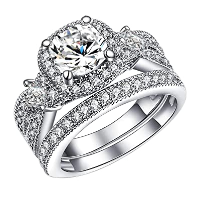 Guqiguli 925 Solid Sterling Silver Bridal Wedding Band Engagement Ring Sets With Cushion And Princess Cut Cubic Zirconia