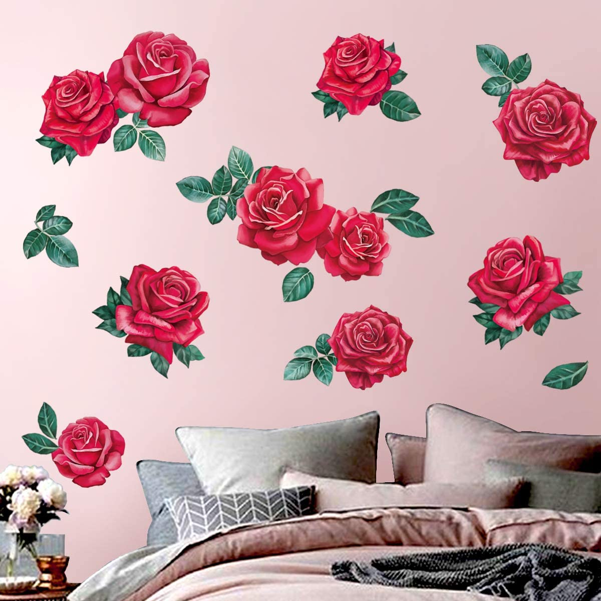 Bedroom Flower Roses Wall Stickers Wall Decals Wall Graphics Living Room Decor