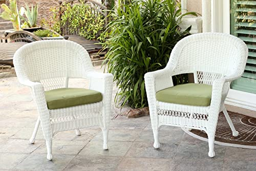 Jeco Wicker Chair with Green Cushion, Set of 2, White W00206-