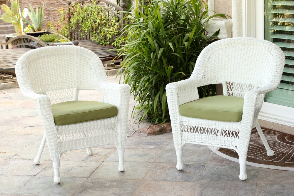 Jeco W00206-C_2-FS029-CS Wicker Chair with Green Cushion, Set of 2 White/W00206-