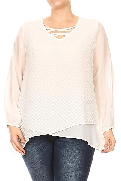 37d52c93c2 Aki Shop Women Plus Size White Chiffon Lace up Knit Top Tee Blouse White  1XL SE17052