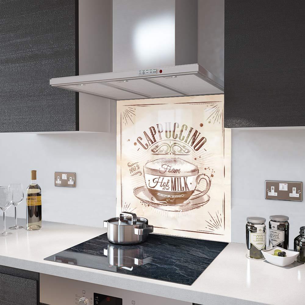 Premier Range in 60cm Wide x 40cm High Glass Splashbacks Cappuccino Coffee Retro Glass
