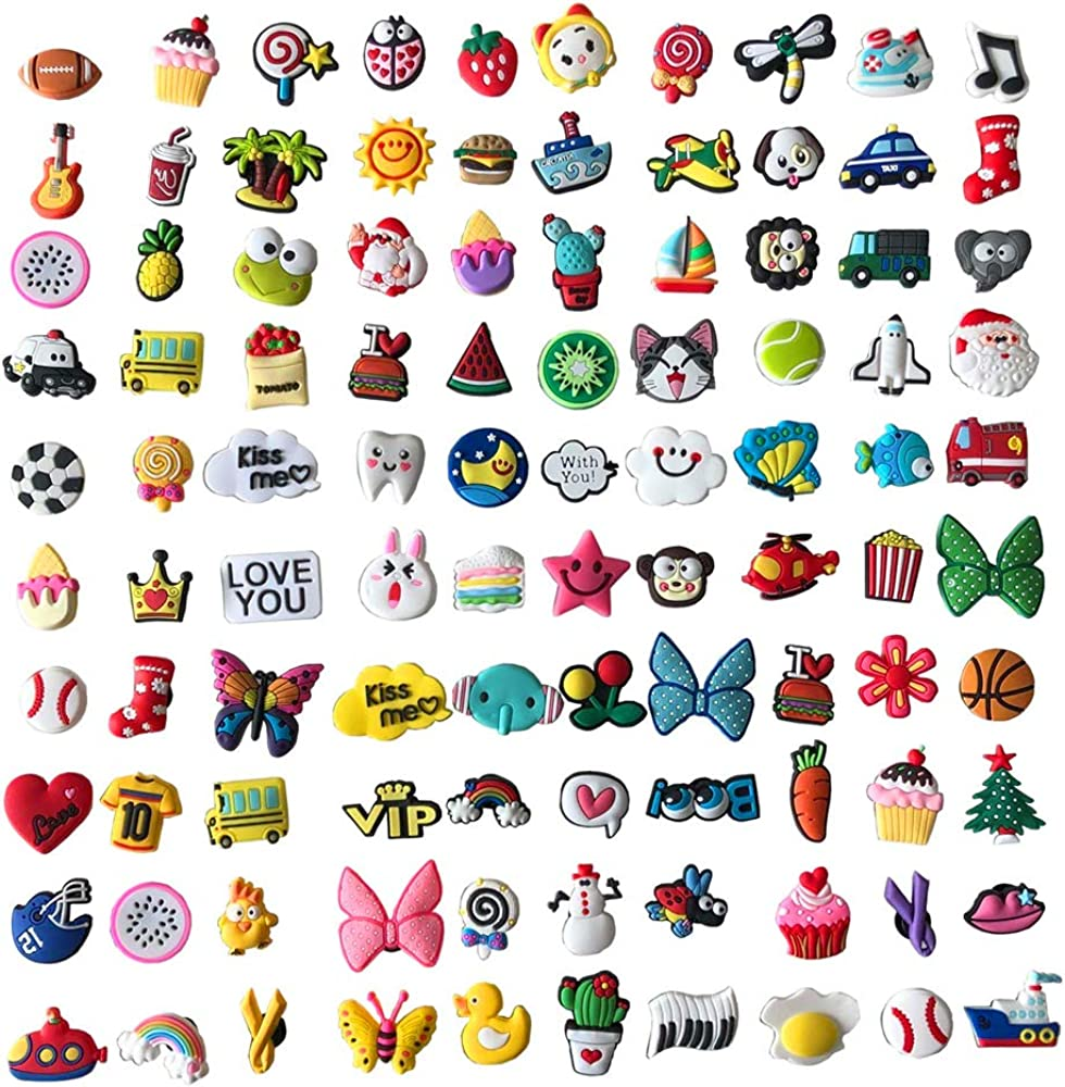 Shoes Charms Fits for Shoes Wristband Bracelet Various Styles Different Shape Party Gifts (100pcs)