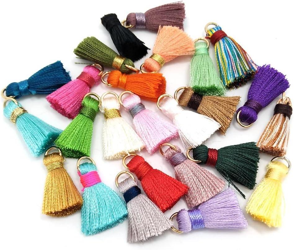 100 borlas de seda hechas a mano, pequeñas, suaves, borlas coloridas, borlas de colores, pendientes de borlas, varios colores al azar