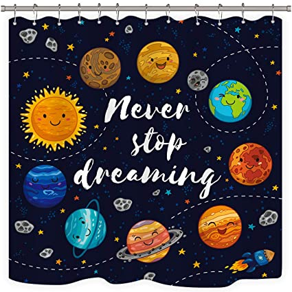 Riyidecor Cute Planet Quotes Shower Curtain Kids Cartoon Weighted Hem Star Cluster Space Galaxy Solar System