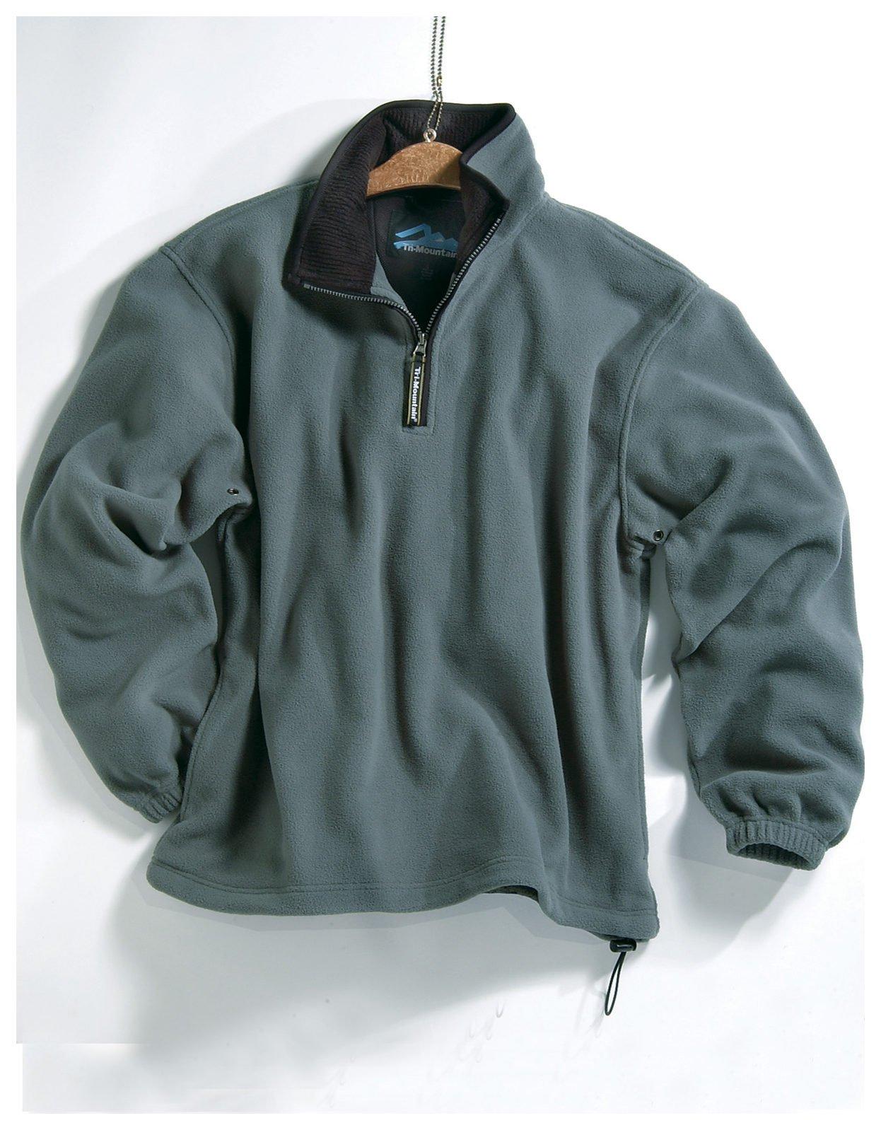 Tri-mountain Micro fleece 1/4 zip pullover. 7100TM - SAGE / BLACK_L