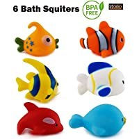 Storio Chu Chu Colorful Small Floating Bath Toys for Baby Aquatic Fish Animals Set of Toys for Kids Non Toxic BPA Free - 6 Pcs