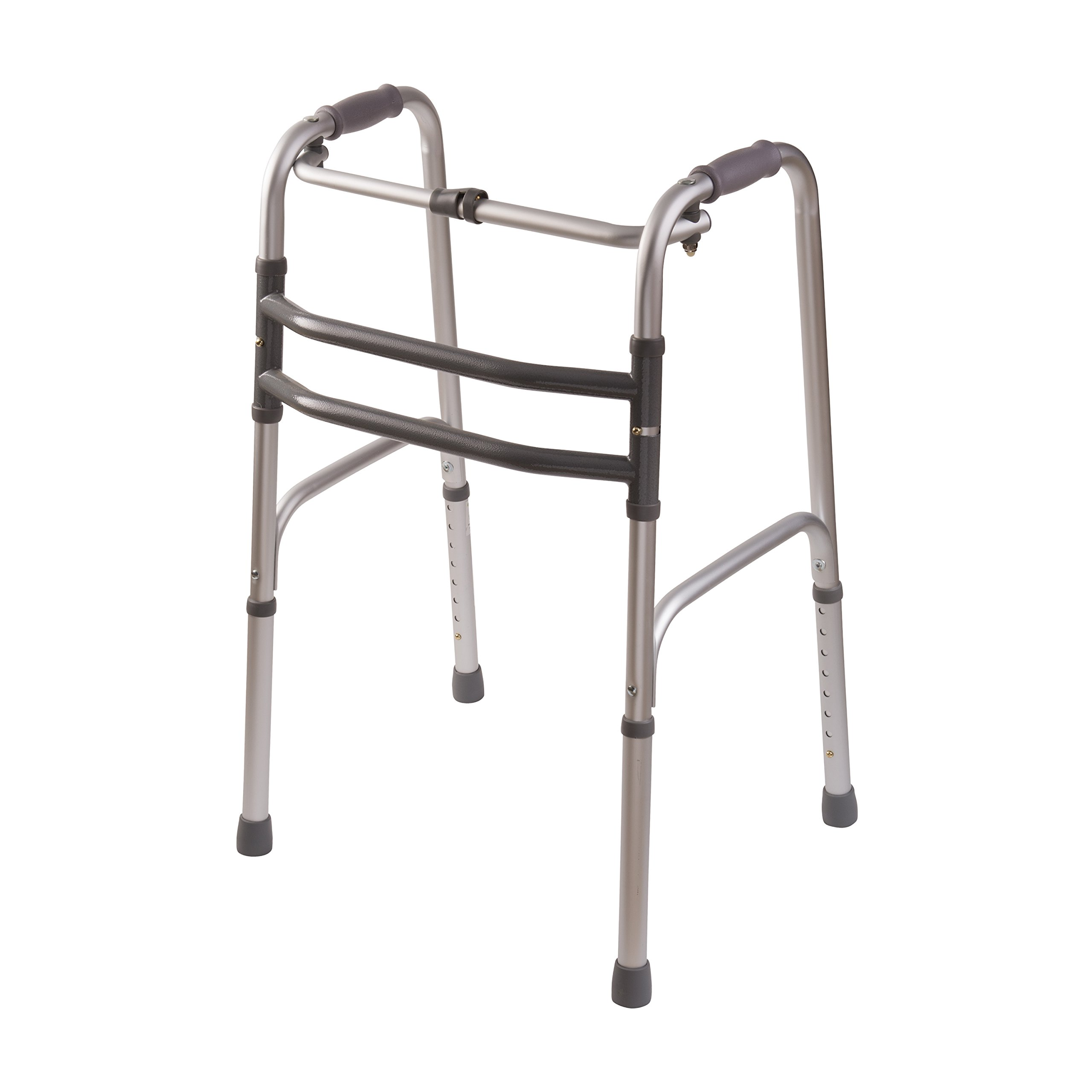 DMI Lightweight Aluminum Single Release Folding Walker with Soft Foam Handgrips, Adjustable Height, Silver, 250 lbs