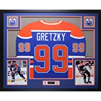 $1795 » Wayne Gretzky Autographed Blue Edmonton Oilers Jersey - Beautifully Matted and Framed - Hand Signed By Wayne Gretzky and Certified…