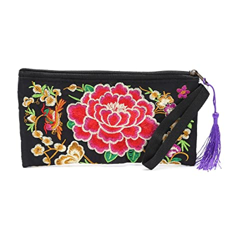 Dairyshop Las mujeres hechas a mano bolso de flores étnicas de bordado largo bolso de la