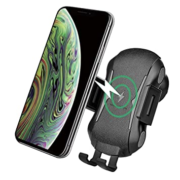 XLTOK Cargador Inalámbrico Coche, 10W Qi Cargador Wireless, Carga Rápida Coche Soporte Móvil Aplicable a Rejillas del Aire para iPhone 8/ X/XS/XS ...