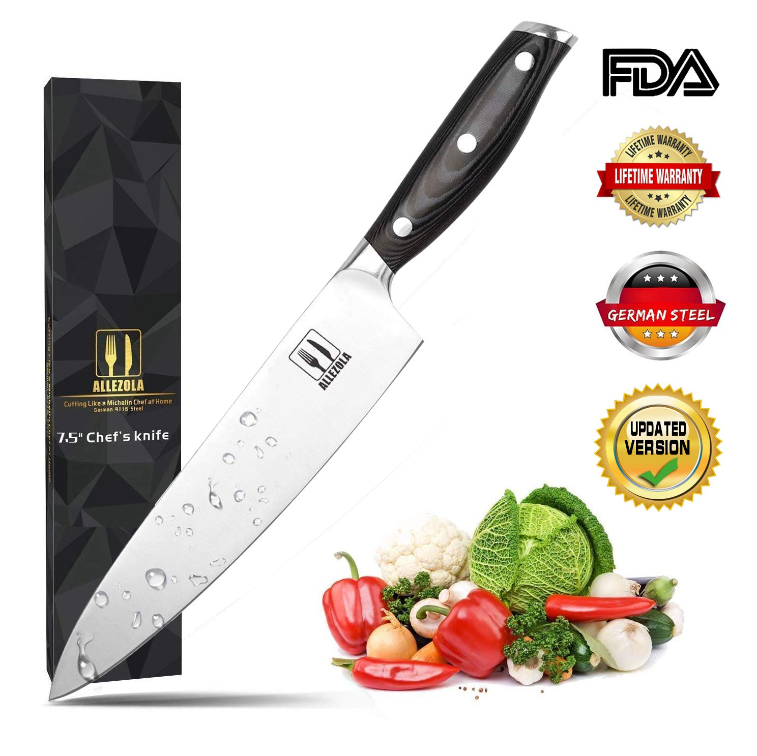 Allezola 7.5 Inch Professional Chef Knife Kitchen Knives German High Carbon Stainless Steel with Ergonomic Handle, Cooking knife for Home and Restaurant