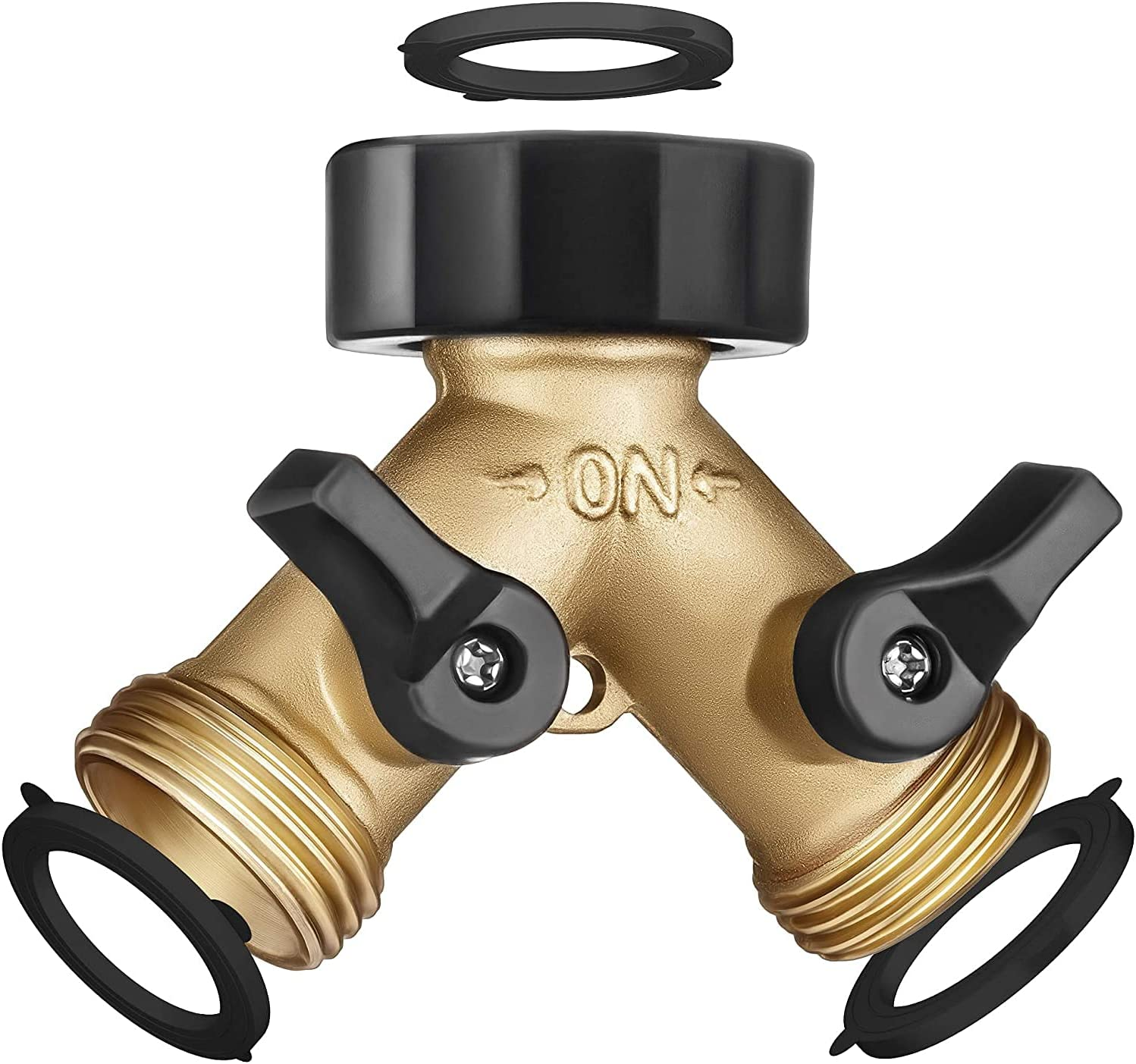 Trazon Brass Garden Hose Splitter 2 Way, Garden Y Hose Connector Metal Body, Water Hose Splitter with Comfortable Grip, Hose Splitter 2 Way Heavy Duty for Outdoor and Indoor Use, Plus 3 Extra Washers
