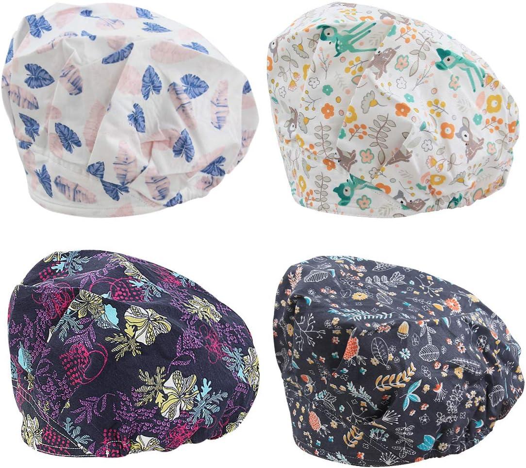 TENDYCOCO Surgical Cap Floral Sweat Absorbing Scrub Hat Cotton Working Cap Nurse Cap Surgery Hat Unisex