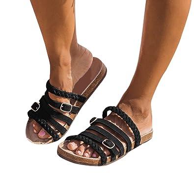 3c4e259eee7b97 Fashare Womens Slide Sandals Buckle Braided Strap Slippers Cork Slip On Flip  Flops Shoes