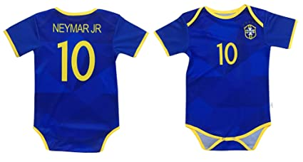 486d9218cc4 World Cup Baby Neymar Jr #10 Brazil Soccer Jersey Baby Infant and Toddler  Onesie Romper