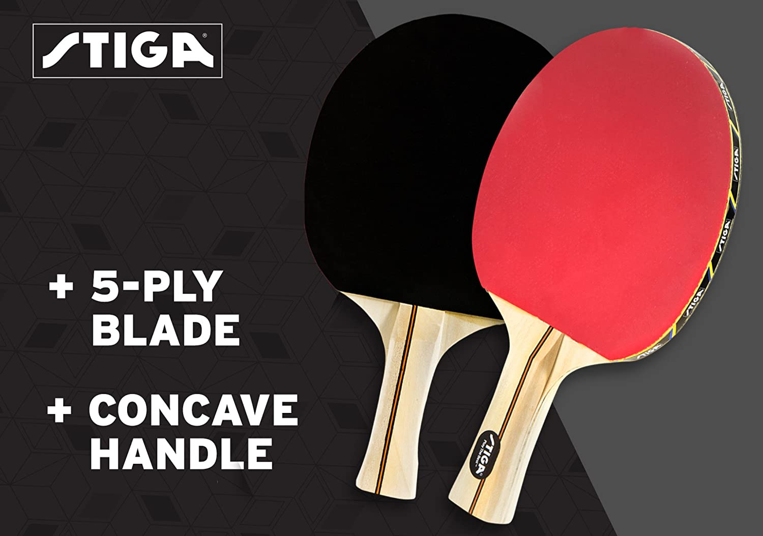 STIGA Performance 4-Player Table Tennis Racket Set with Inverted Rubber for Increased Ball Control and Added Spin T1364