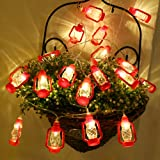 20 LED Red Lantern Mini Kerosene String Lights For Patio Garden Holiday Home Decorations (Warm white light)