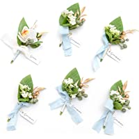 Ling's moment Aquamarine & White Boutonniere for Men Wedding Best Man Flower Dusty Boutonniere Set for Anniversary…