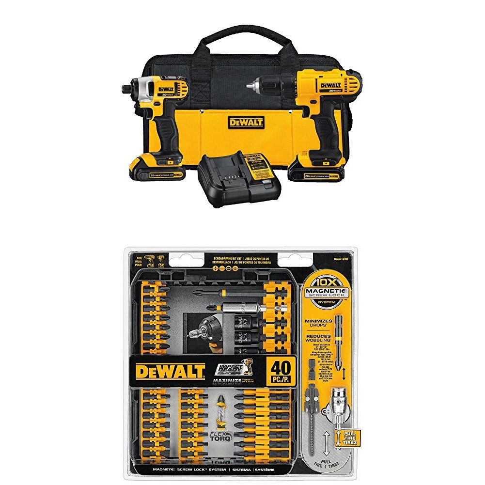 DEWALT DCK240C2 20v Lithium Drill Driver/Impact Combo Kit (1.3Ah) with FlexTorq Screw Driving Set, 40-Piece