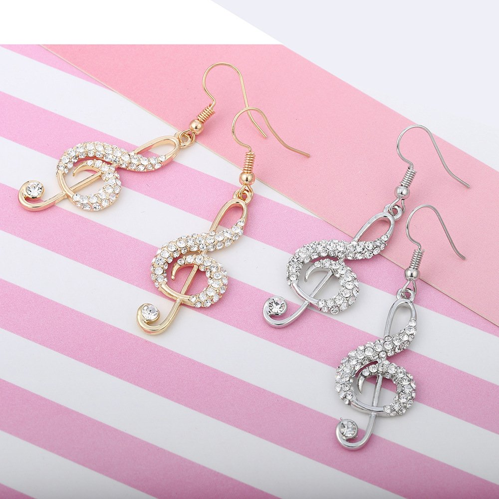 Geometric Asymmetrical Rhinestone Note Music Pendant Earrings for Girls Mothers Day Giftss Mothers Day Gifts