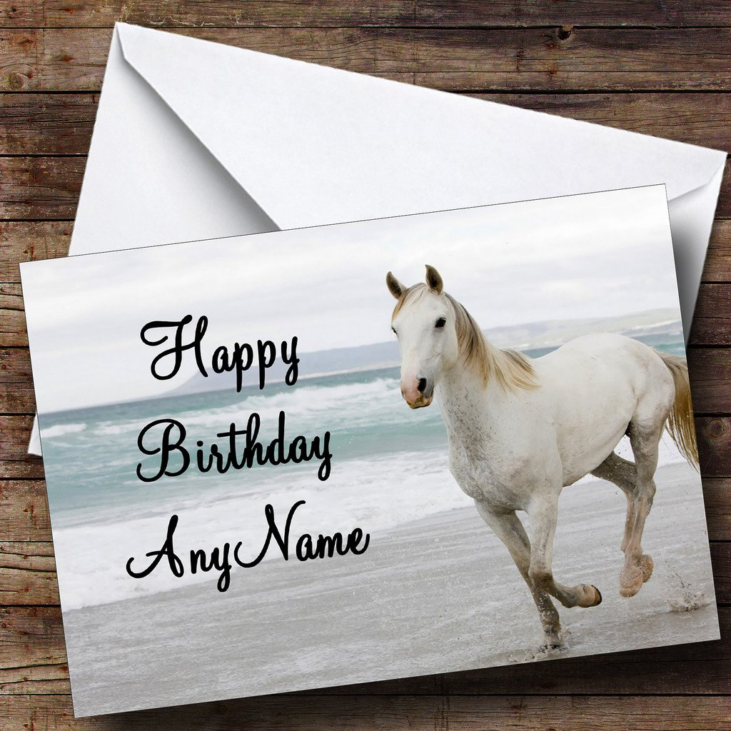 Horse on beach beautiful personalised birthday card amazon horse on beach beautiful personalised birthday card amazon office products kristyandbryce Images