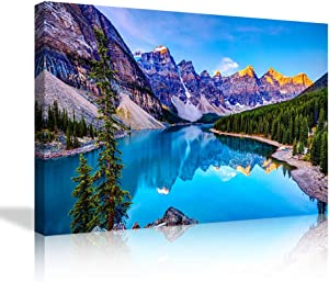 AMEMNY Nature Canvas Wall Art Decor Posters Prints Moraine Lake and Rocky Mountains Sunset Artwork for Living Room Home Ready to Hang