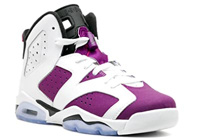 reputable site 311d3 9e5bc Image Unavailable. Image not available for. Color  Jordan Gradeschool Girls Retro  6 (Gs) WHITE BRIGHT GRAPE BLACK VIVID