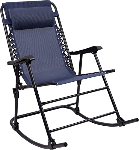 Furniwell Patio Rocking Zero Gravity Chair Outdoor Wide Recliner Portable Lounge Chair Folding with Headrest for Camping Fishing Beach Poolside Blue