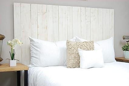 Dydaya Cabecero de Madera Blanco Vintage de 210 x 80 cm para Cama, somier de 200 & Cabezal & Respaldo