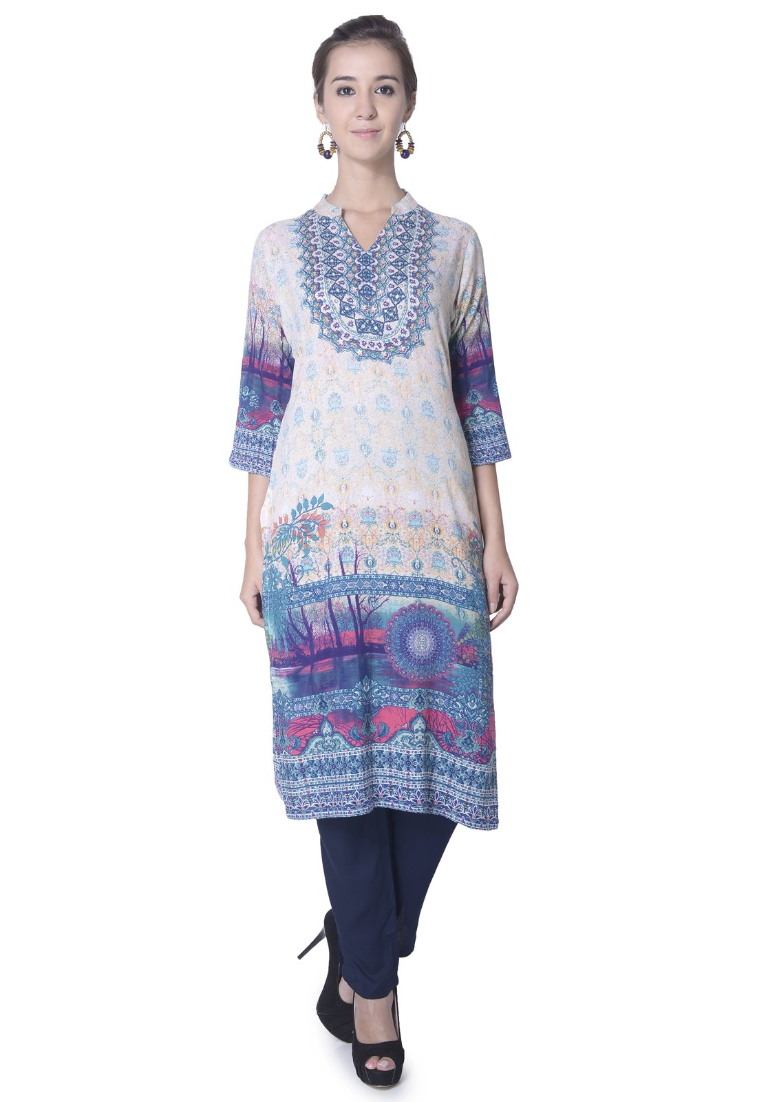 Lagi Designer Women Rayon Straight Floral Printed Kurti for Women Tunic Top r 3/4 Sleeve Dress. (XL, Blue 3)