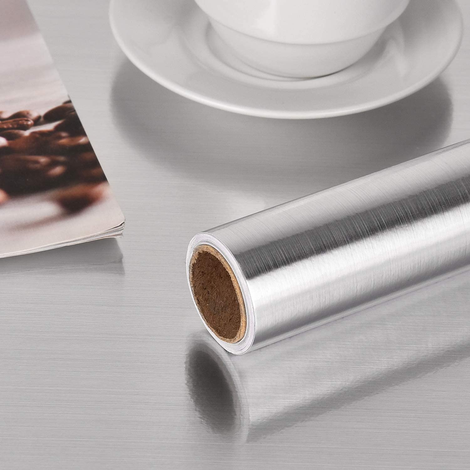 "Symoden 15.8"" x 78.8"" Silver Stainless Steel Contact Paper Brushed Nickel Peel and Stick Wallpaper Self Adhesive Contact Paper Metal Look Wallpaper for Countertops Kitchen Cabinets Dishwasher"