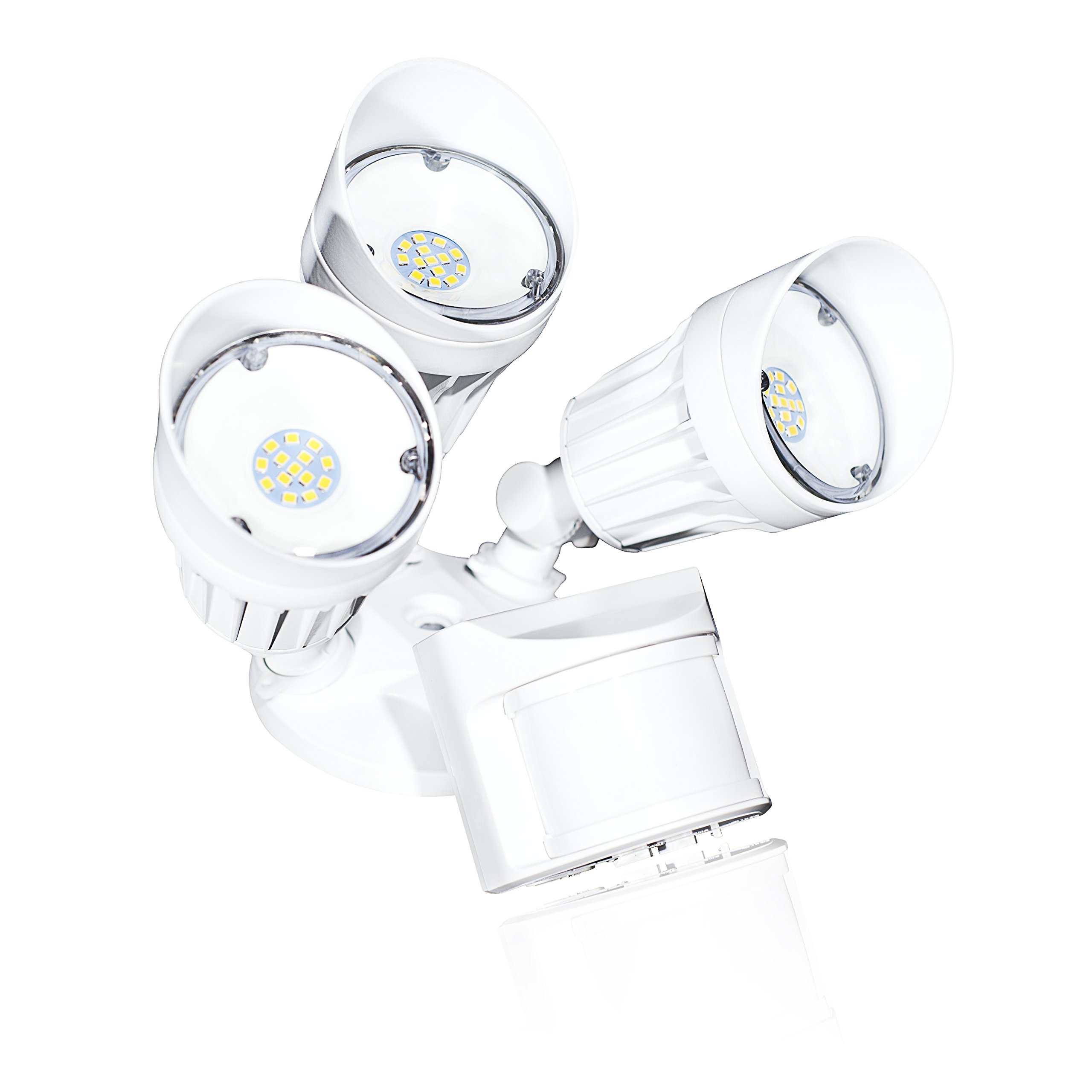 Bulb Daddy 30 Watt Three Head LED Security Light, Dusk to Dawn and Motion Sensor Combination, Adjustable Heads, Residential and Commercial Applications, 5000K- Daylight, ETL, DLC, Weatherproof IP65
