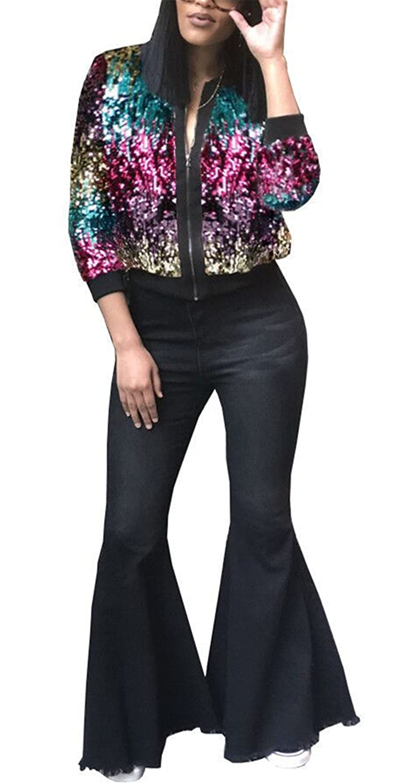 Womens Autumn Cover Up Long Sleeve Sequins Metallic Open Front Cardigan Coat