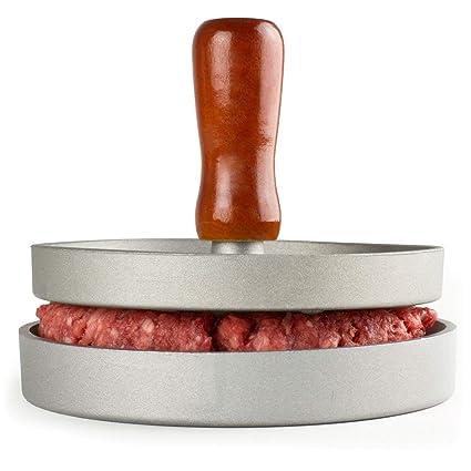 Prensa de Hamburguesas Aluminio Antiadherente Hacedor Molde de Hamburguesa Uso Directo en Fuego para Barbacoa BBQ