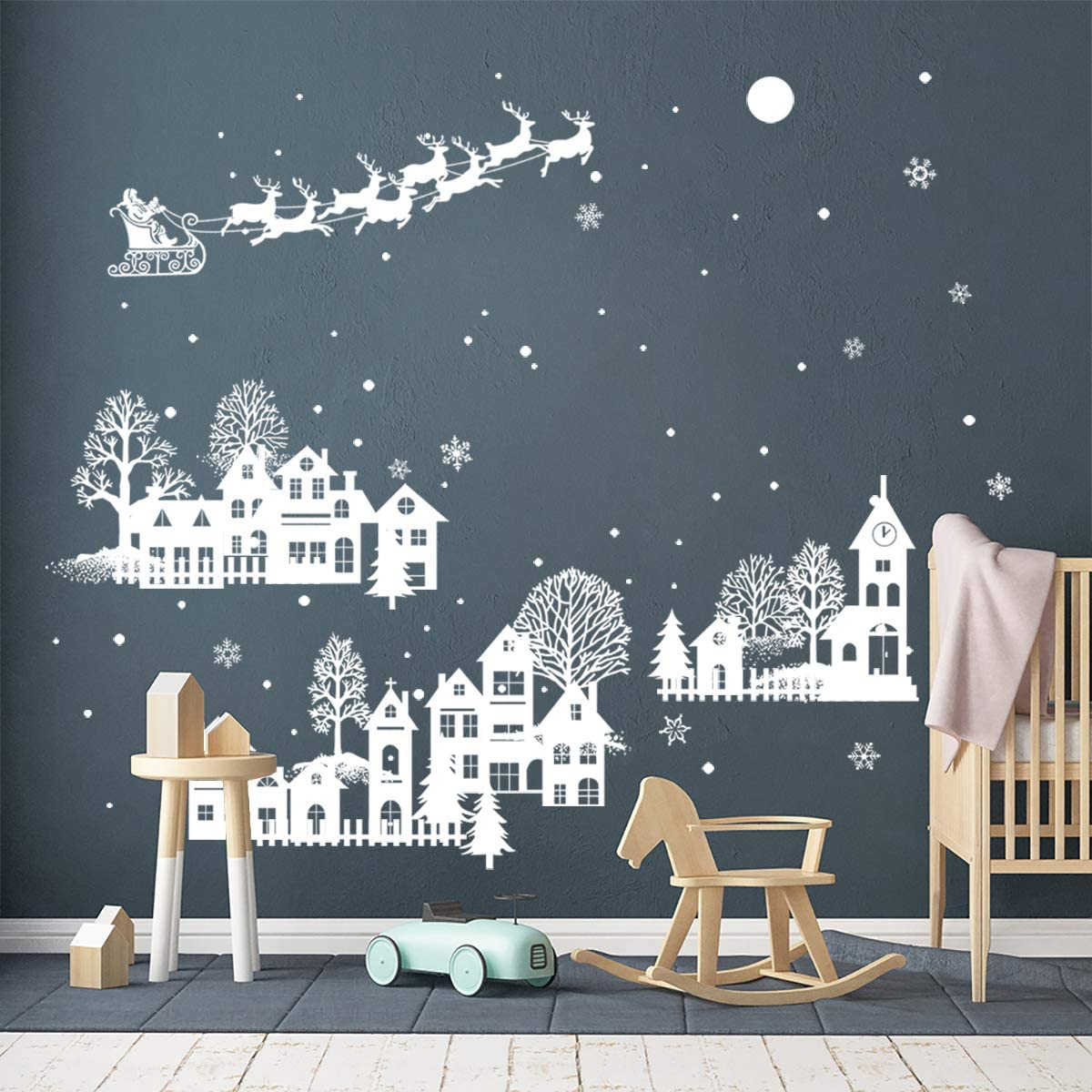 ufengke Christmas Night White Silhouette Wall Stickers Santa Claus Snowflakes Window Wall Decals for Shop Home Decor Merry Christmas Decorations