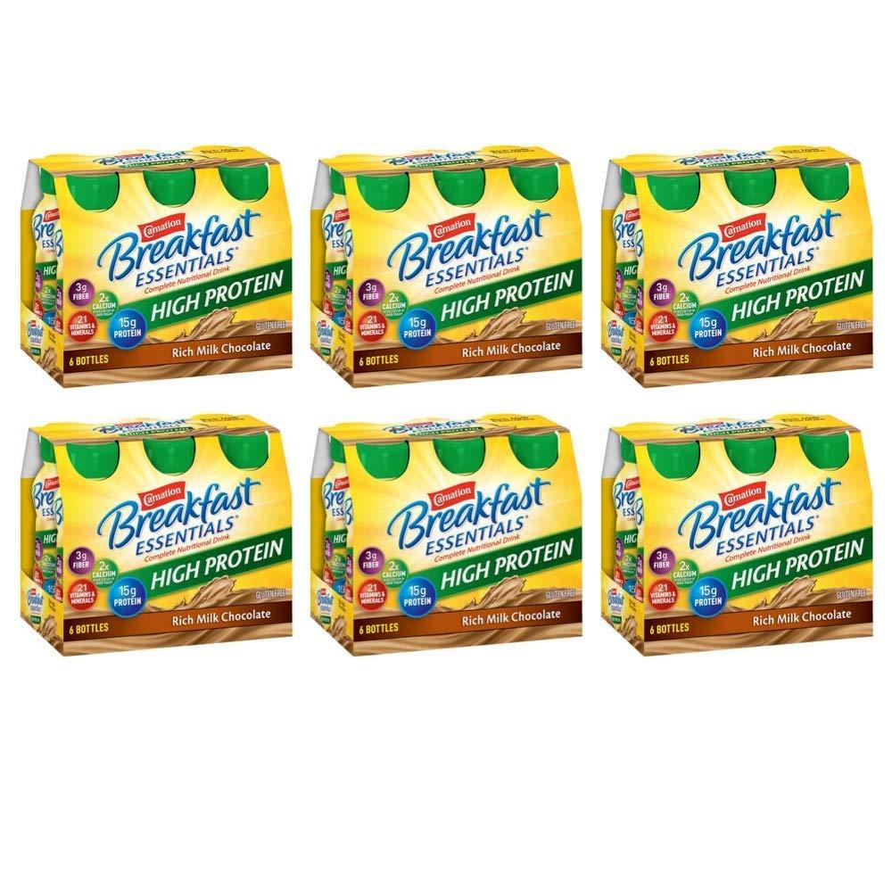 Carnation Breakfast Essentials High Protein, Rich Milk Chocolate, 8 fl. oz. Bottles, 6 Count - Pack of 6 by Carnation