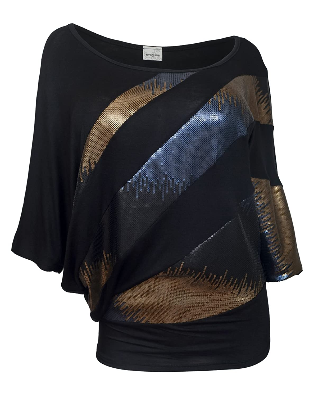 eVogues Plus size Sequins Scoopneck Top