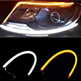 2Pcs 24 Inches Dual Color White/Sequence Amber LED Strip Light, YANF Waterproof Car Flexible Daytime Running Light Strip DRL Switchback Headlight and Turn Signal Light Tube - Easy Paste Install