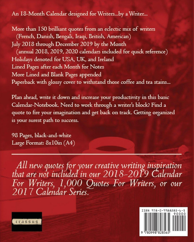18-Month Calendar for Writers: July 2018 - December 2019