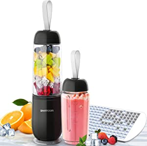 SHARDOR Portable Smoothie Blender Personal Blender for Shakes Juice with 2 Sport Bottles 1 Ice Cube Tray, Black