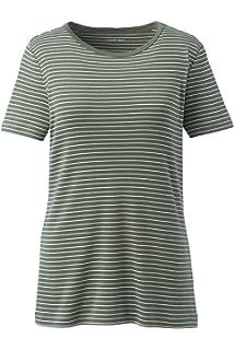 7b2ad07a8823e9 Lands' End Women's Plus Size Stripe Shaped Short Sleeve T-Shirt Cotton  Crewneck