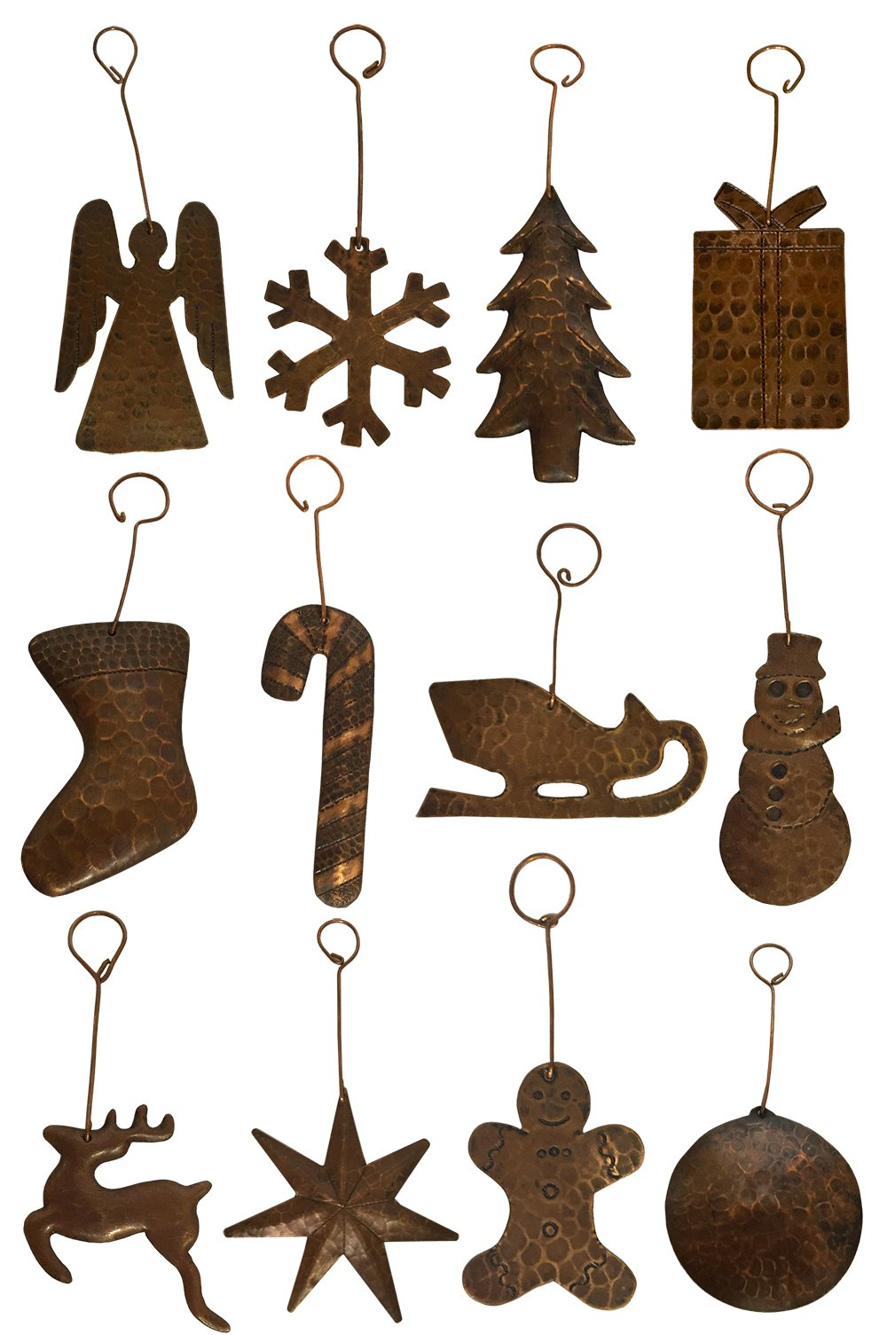 Hand Hammered Copper Christmas Ornaments - Complete Assortment of 12