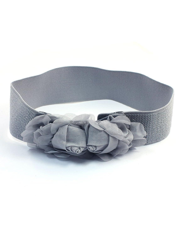 Flower Decor Press Stud Buckle Elastic Waistbelt Cinch Belt Light Gray