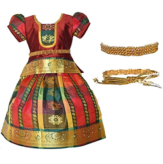 Amirtha Fashion Girls Traditional Lehenga Choli MADHURA CHILD PATTU WITH WAIST BELT (HWMG) Girls' Lehenga Cholis at amazon