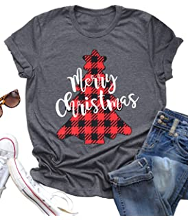 NANYUAYA Merry Christmas T Shirt Women Christmas Leopard Plaid Tree Tees Tops Casual Short Sleeve Shirt Tops